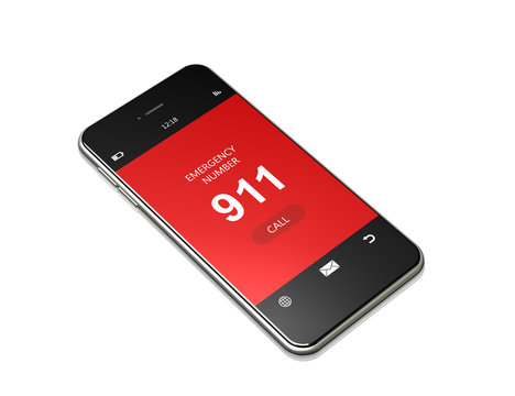 mobile phone with 911 emergency number lying on white