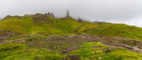 Wall Mural - The Old Man of Storr in heavy fog - Isle of Skye, Scotland, UK