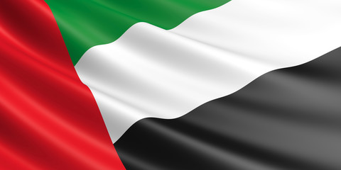 Flag of United Arab Emirates waving in the wind.