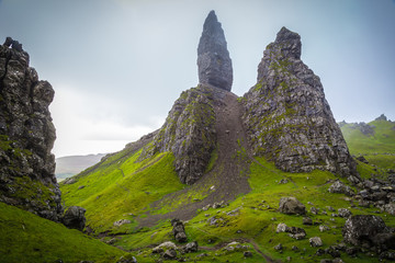 Wall Mural - The ancient rocks of Old Man of Storr on a cloudy day - Isle of Skye, Scotland, UK