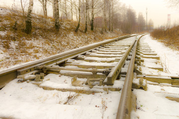 Old railway in Russia in the winter