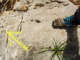 Aufsicht auf Wanderschuh und gelber Pfeil auf Felsen