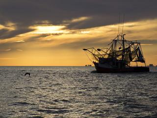 Shrimping boat leaving to shrimp