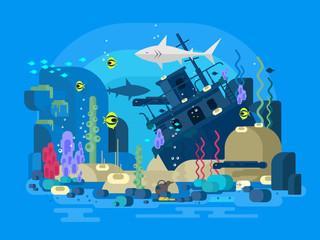 Sunken ship under water