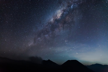 The milky way above Bromo mountain.