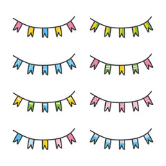 Set of colorful hand drawn party flags isolated on white background.