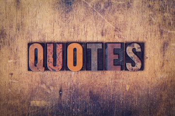 Quotes Concept Wooden Letterpress Type