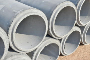 Cement pipes stacking at construction yard