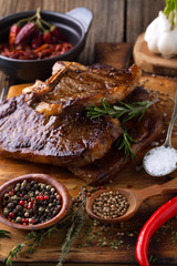 Grilled beef steak with spices
