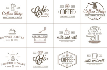 Set of Vector Coffee Elements and Coffee Accessories Illustration can be used as Logo or Icon in premium quality