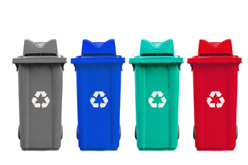 Isolated large four color garbage bins with wheel