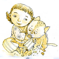 little girl and cat graphics