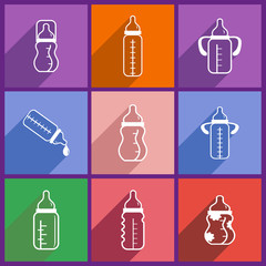 Set with feeding-bottle icons. Flat style