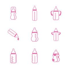 Set with feeding-bottle icons. Flat style