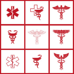 Set with medical signs icons. Flat style