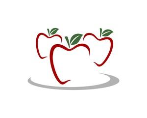 Red Apples Line Logo