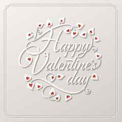 Valentine's Day Greeting Card on white background with red hearts.