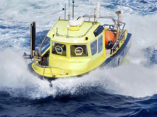 seismic workboat splashing in waves, Gulf of Mexico