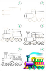 Page shows how to learn step by step to draw a steam locomotive. Developing children skills for drawing and coloring. Vector image.