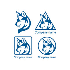 Set of logos with a wolf head