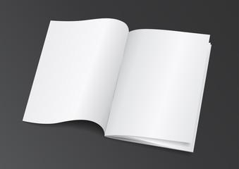Open White Blank Brochure Magazine for Mock up - Vector Illustra
