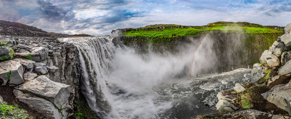 Panorama of stunning waterfall Dettifoss in Iceland