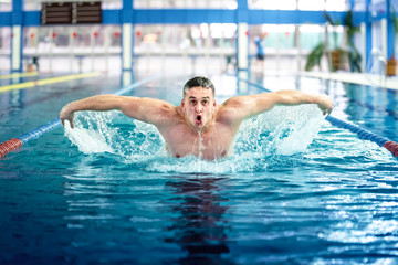 Professional male swimmer, performing the butterfly stroke technique at indoor pool