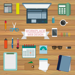 Flat Style Modern Office Workspace.Equipment for Workplace Design. Vector Illustration