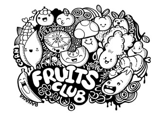 Hand Drawn of fresh fruit doodle