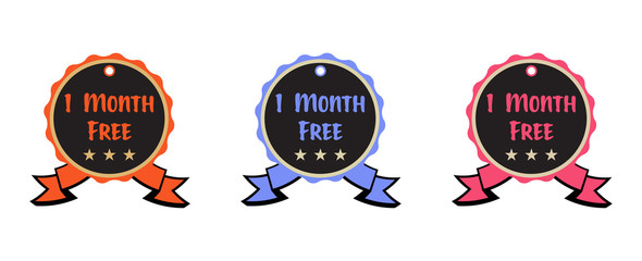 Set of three badges with the text one month free isolated on a white background
