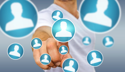Businessman using modern social network