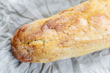 Top view of fresh organic ciabatta bread