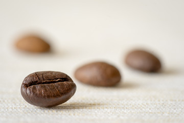 Close-up view of coffee beans. Macro shoot.