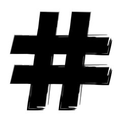 hashtag symbol on a white background