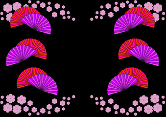 colorful Chinese fans on a black background