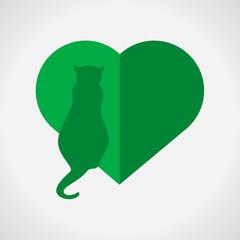 Vet Heart Cat Green