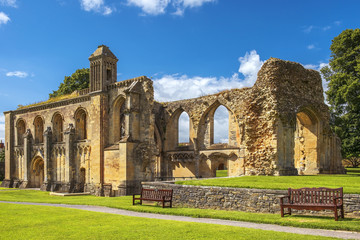 Printed roller blinds Ruins ruins of Glastonbury Abbey, Somerset, England