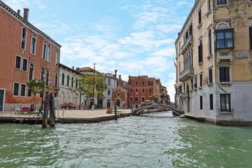 Crossing Grand Canal and Rio de S. Vio (between Palazzo Da Mula Morosini and Galleria di Palazzo Cini) in Venice, Italy