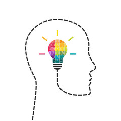 Creativity and innovation concept. Human head line with light bulb made of puzzle.