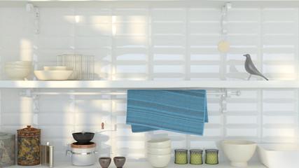white shelf with black board for recipe in white interior