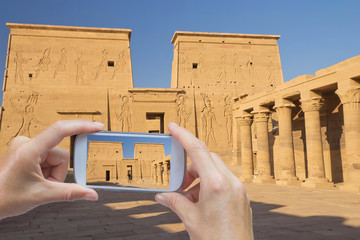 Taking picture of the Philae Temple in Egypt