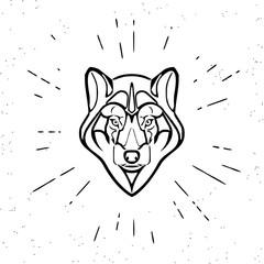 Vintage grey wolf