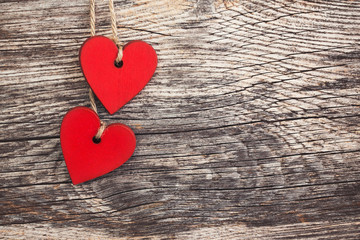 Valentines day hearts over wooden background. Toned, soft focus, copy space