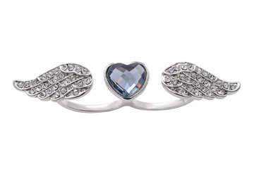 Silver ring with heart and wings on a white background