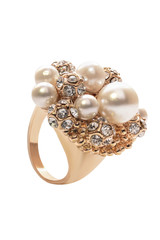 gold ring with pearls on a white background