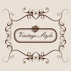 Старинные элементы декора. Вывеска, логотип. Для ресторана и кафе. Открытка с цветами и завитками