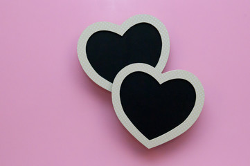 Heart black board on pink