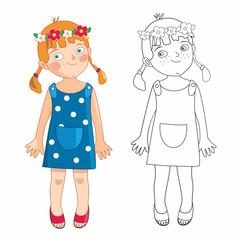 Fototapeta Ewa, mała dziewczynka latem - kolorowanka obraz