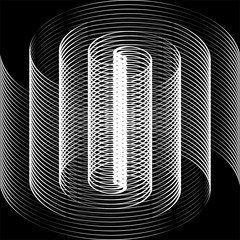 Black and white spiral. Optical illusion.