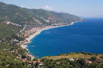 Fotobehang Rio de Janeiro Sea Bay of Taormina, Sicily, Italy